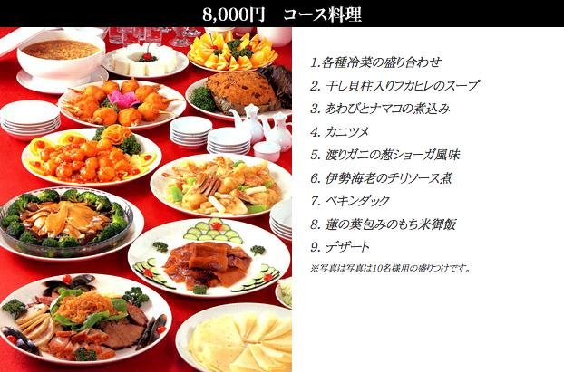 🔍¥8,000コース /お一人様(税別)